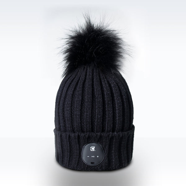 Woman Bluetooth Beanie With Black Faux Fur Pom Pom - Black