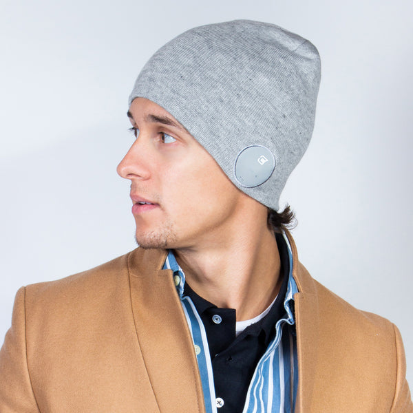 Bluetooth Beanie Slim Ribbed Ash Grey - Blu-Toque