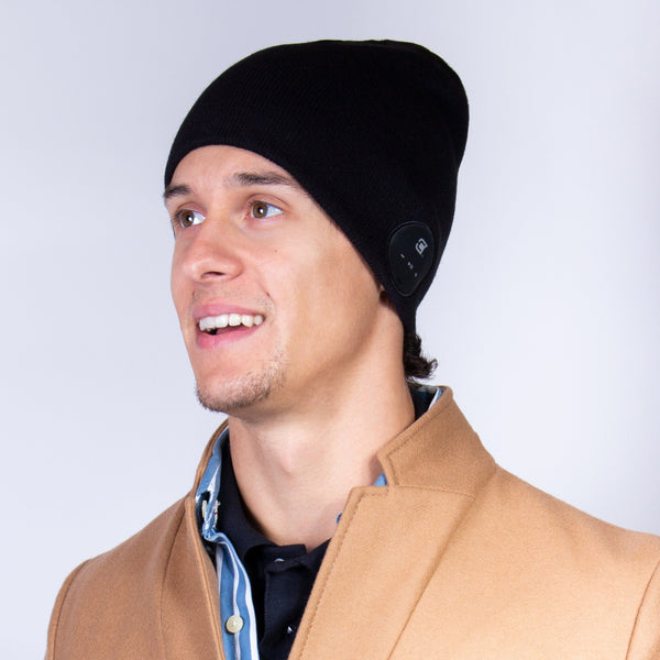 Bluetooth Beanie Slim Ribbed Charcoal Black - Blu-Toque