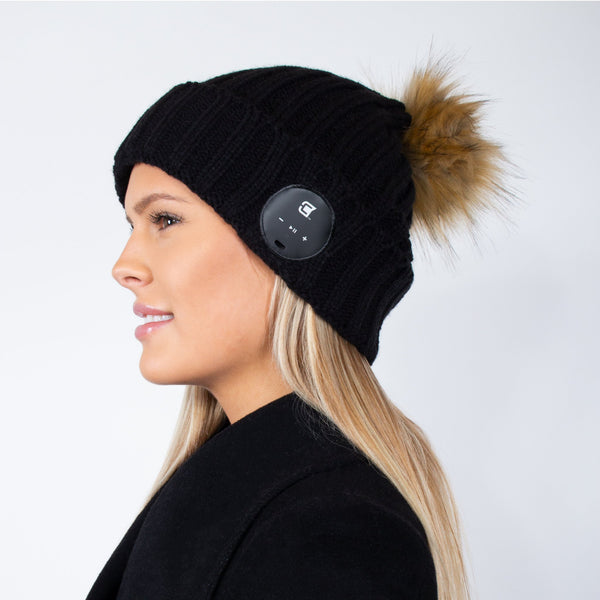 Bluetooth Beanie Dual Layered Black with Brown Fur Pom