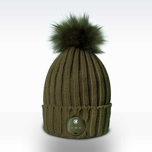 Woman Bluetooth Beanie With Olive Green Faux Fur Pom Pom - Olive Green