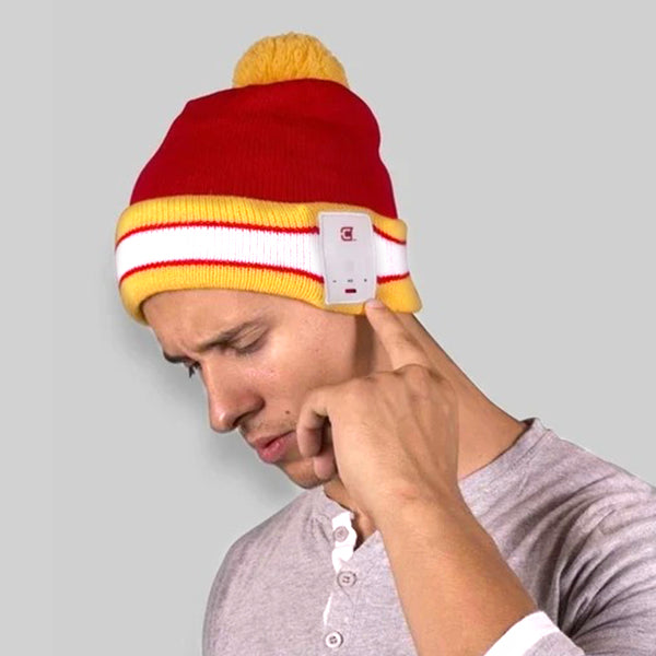 Blu Toque Bluetooth Beanie Warm Hat Unisex - Varsity Red And Yellow