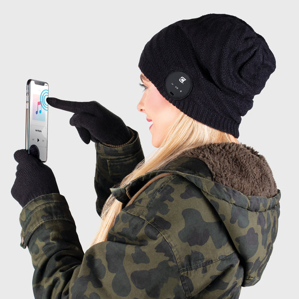 Blu Toque Slouchy & Touch Screen Gloves - Black Combo Kit