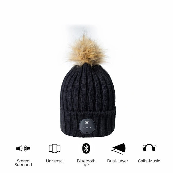 Woman Bluetooth Beanie With Brown Faux Fur Pom Pom - Black