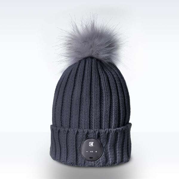 Woman Bluetooth Beanie With Grey Faux Fur Pom Pom - Ash Grey