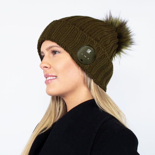 Bluetooth Beanie Dual Layered Olive with Green Fur Pom