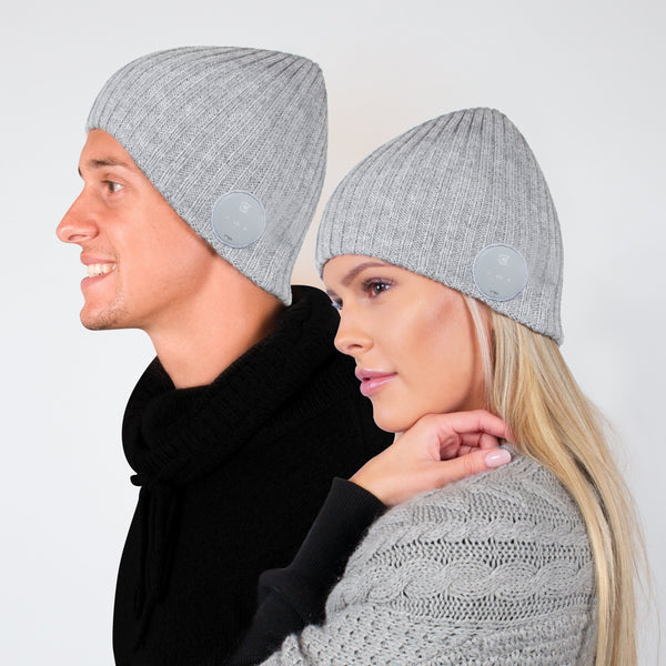 Bluetooth Beanie Wide Ribbed Ash Grey- Blu-Toque