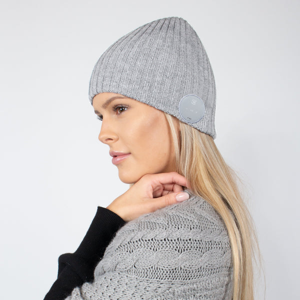 Blu Toque Bluetooth Beanie Wide Ribbed - Ash Grey