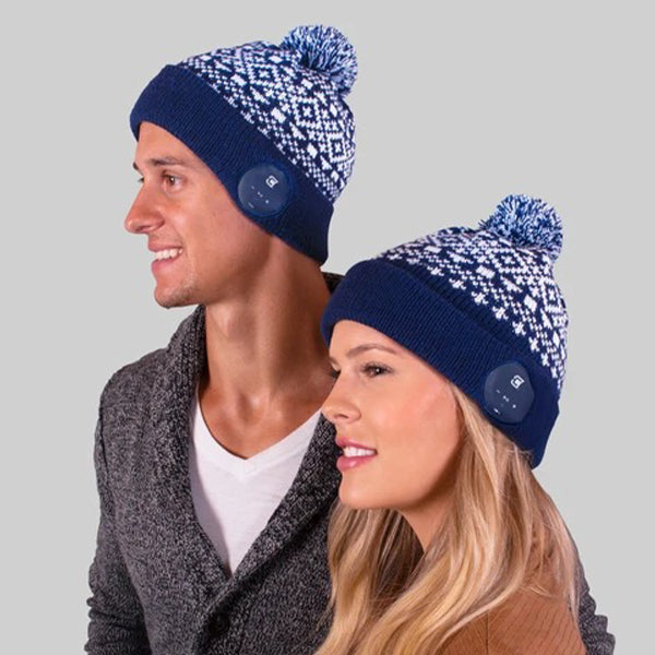 Blu Toque Bluetooth Beanie - Navy with Snow Pattern