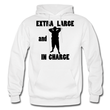 Load image into Gallery viewer, Extra Large and In Charge Hoodie Black Image - white