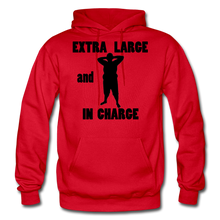 Load image into Gallery viewer, Extra Large and In Charge Hoodie Black Image - red