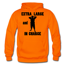 Load image into Gallery viewer, Extra Large and In Charge Hoodie Black Image - orange