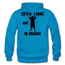 Load image into Gallery viewer, Extra Large and In Charge Hoodie Black Image - turquoise