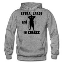 Load image into Gallery viewer, Extra Large and In Charge Hoodie Black Image - graphite heather