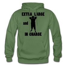 Load image into Gallery viewer, Extra Large and In Charge Hoodie Black Image - military green