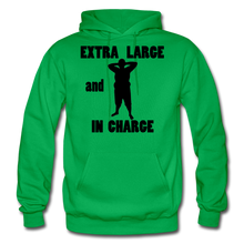 Load image into Gallery viewer, Extra Large and In Charge Hoodie Black Image - kelly green