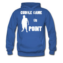 Load image into Gallery viewer, Cuddle Game Hoodie White Image (Up to 5xl) - royal blue