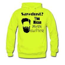 Load image into Gallery viewer, Man Glitter Hoodie Dark Image (Up to 5xl) - safety green