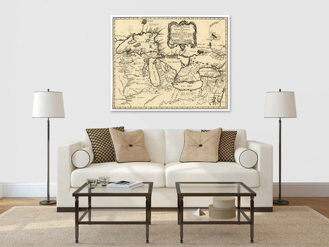 Antique Map Print of the Great Lakes of Canada