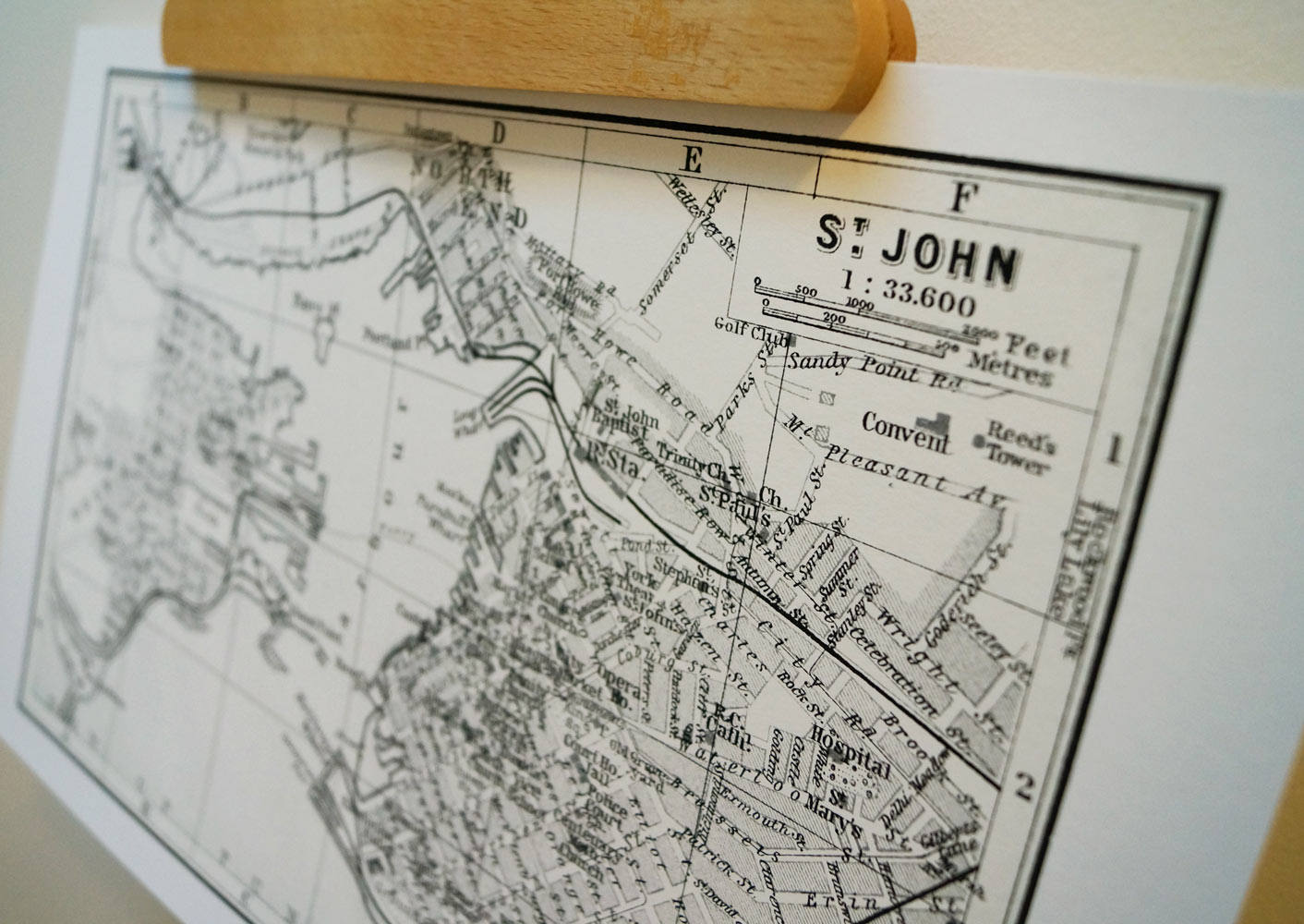 Antique Map Print of St. John Harbour, New Brunswick, Canada