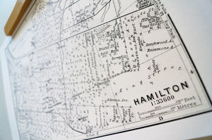 Antique map print of Hamilton, Ontario