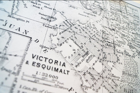 Antique Map Print of Victoria & Esquimalt