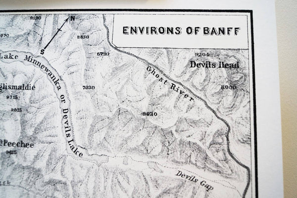 Antique Map Print of the Environs of Banff, Alberta, Canada
