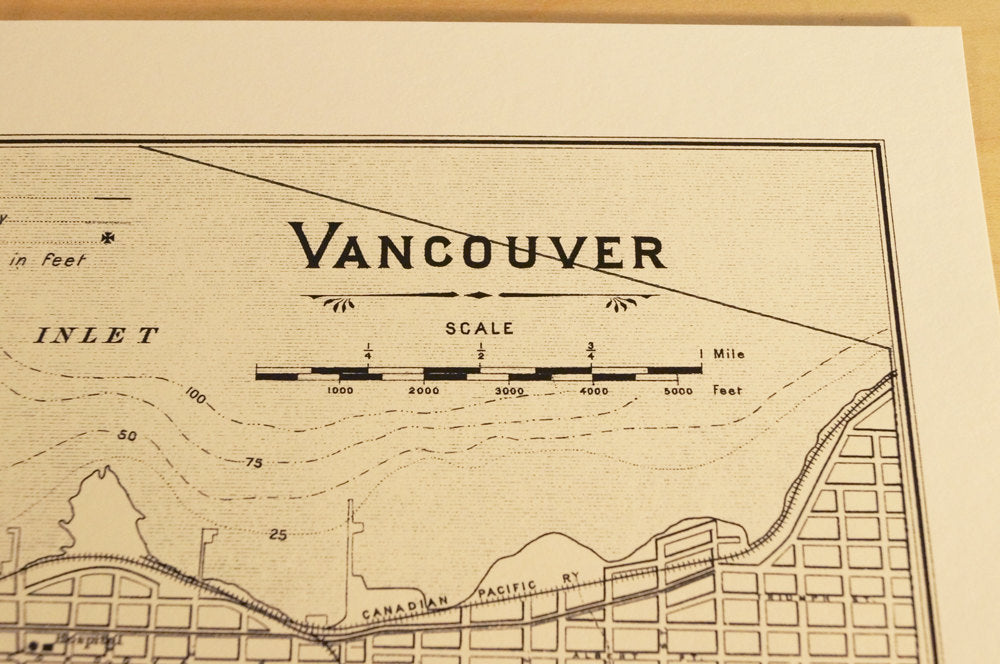 Antique Map Print of Vancouver, British Columbia