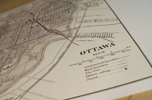 Antique Map Print of Ottawa, Canada