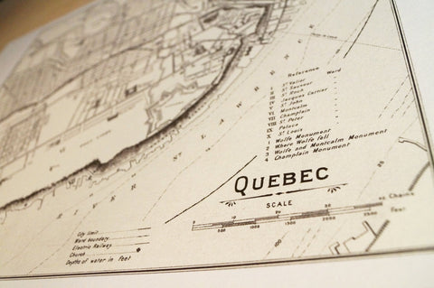 Antique Map Print of Quebec City