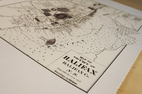 Antique Map Print of Halifax, Nova Scotia