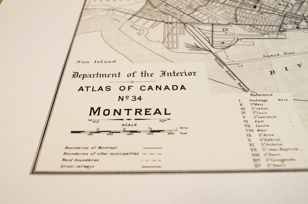 Antique Map Print of Montreal, Canada