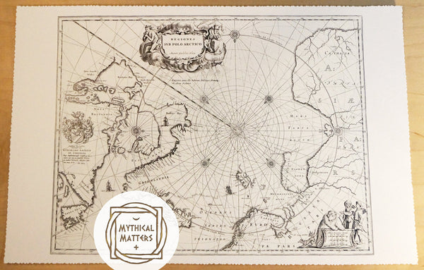 Antique Map Print of the North Pole