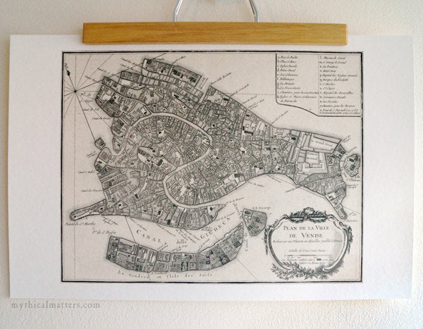 Antique Map Print of Venice