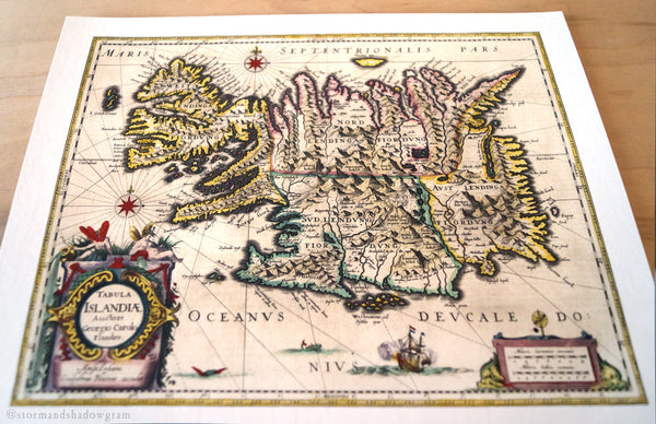 Antique Map Print of Iceland