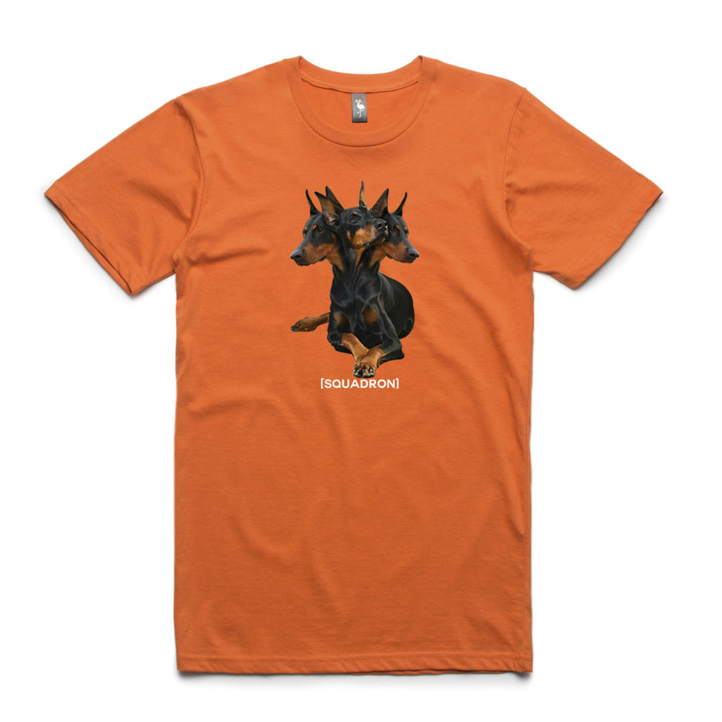 doberman graphic tee flamingo squadron orange