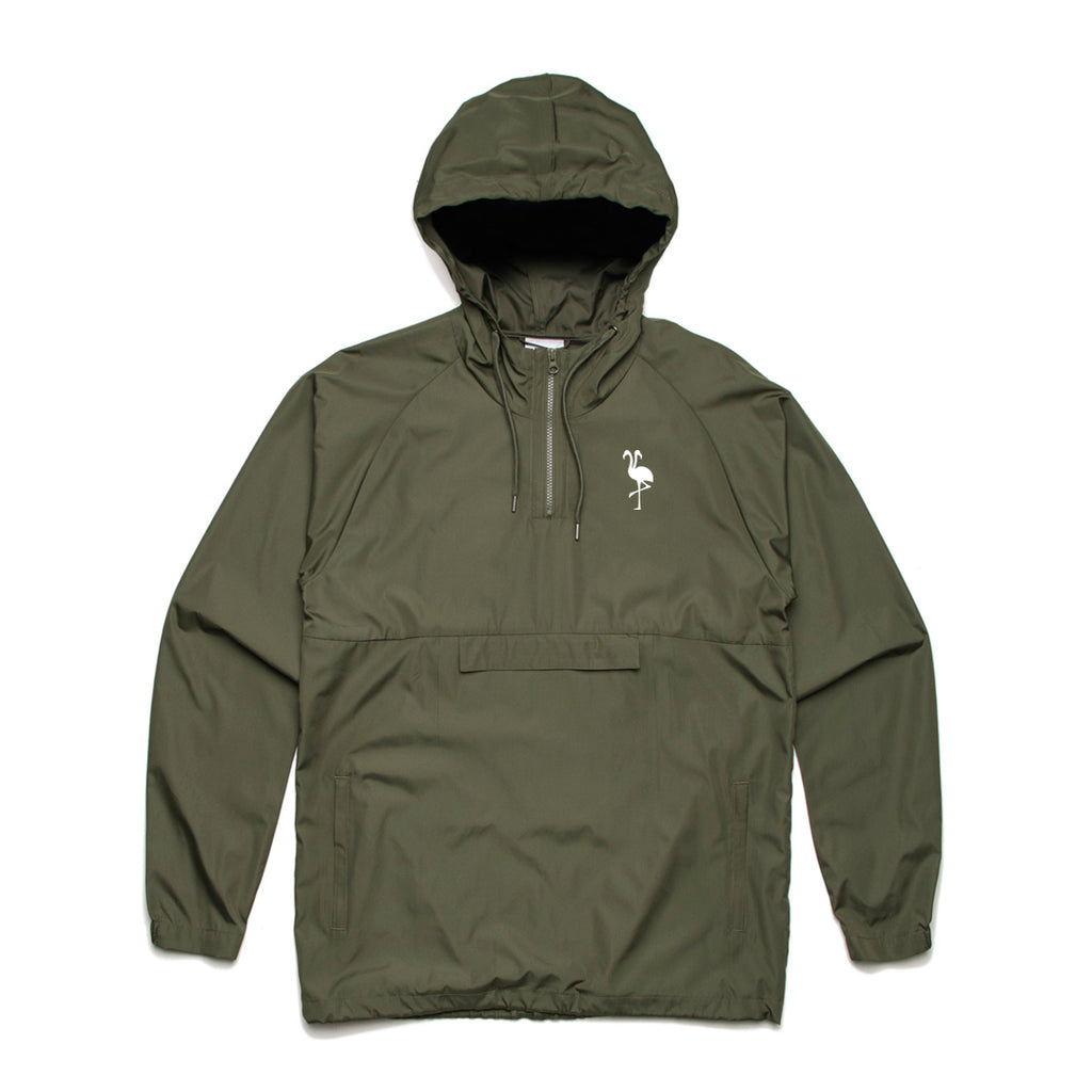 logo hooded windbreaker army