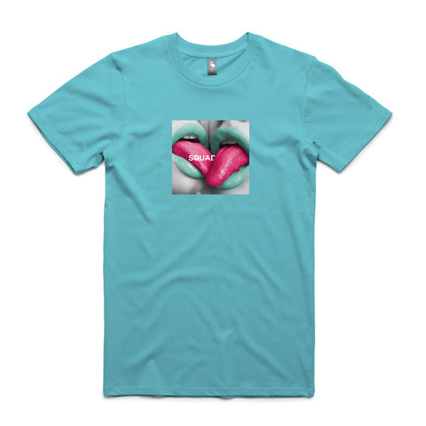 tongue make out graphic tee flamingo squadron teal