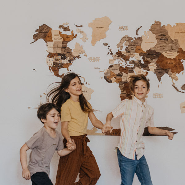 3D Wooden World Map Multicolor