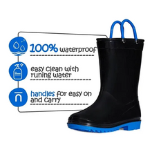 Load image into Gallery viewer, Kids  Boys Rain Boots Light Sold Black - KKOMFORME