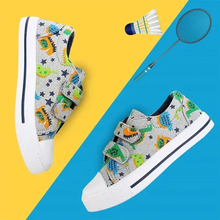 Load image into Gallery viewer, Kids Sneakers Boy and Girl Canvas Shoes Green Dinosaurs - KKOMFORME