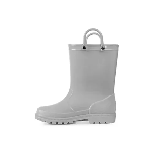 Kids Girls Light Rain Boots Solid Gray - KKOMFORME