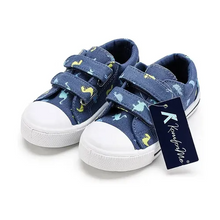 Load image into Gallery viewer, Kids Sneakers Boy and Girl Canvas Shoes Blue Dinosaurs - KKOMFORME