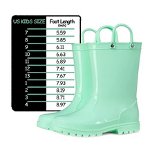 Load image into Gallery viewer, Kids Girls Light Rain Boots Solid Green - KKOMFORME