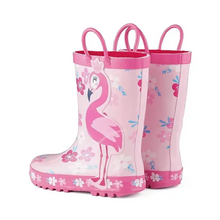 Load image into Gallery viewer, Girl Rain Boots Rubber Flamingo Kids Shoes - KKOMFORME