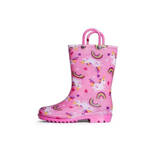Load image into Gallery viewer, Girls Light Rain Boots Pink Rainbow Uncorns Kids Shoes - KKOMFORME