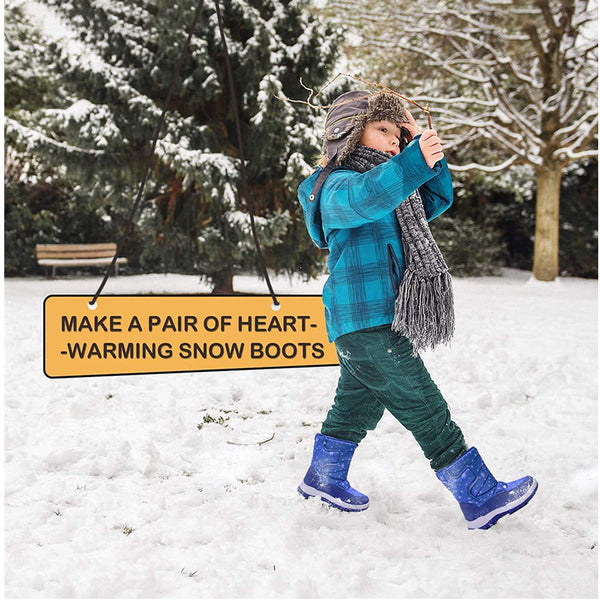 Kids Snow Boots for Boys & Girls Winter Boots Blue Snow - KKOMFORME
