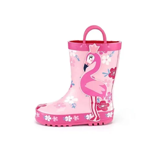 Girl Rain Boots Rubber Flamingo Kids Shoes - KKOMFORME