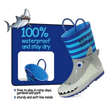 Load image into Gallery viewer, Boys Rain Boots Rubber Blue Sharks Kids Shoes - K komforme
