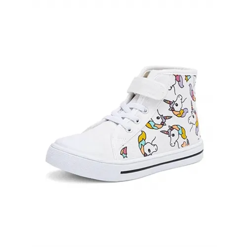 Kids Sneakers High-top Canvas Shoes White Unicorn - KKOMFORME